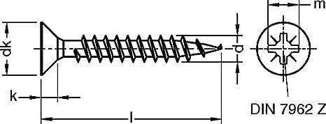 4 x 12 vis pour conique cruciforme Galvanis Chromate jaune Dresselhaus JD-79 113 Paquet de 1000 Vis