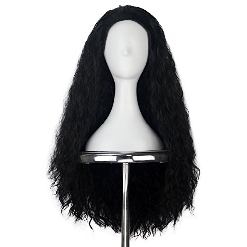 Miss U Hair Synthetic 80cm Long Curly Jet Black Hair Movie Cosplay Costume Wig Deluxe Hair -