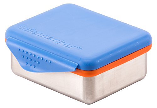 Kid Basix Safe Snacker Stainless Steel Lunchbox Container with Attached Lid, Blue, Medium