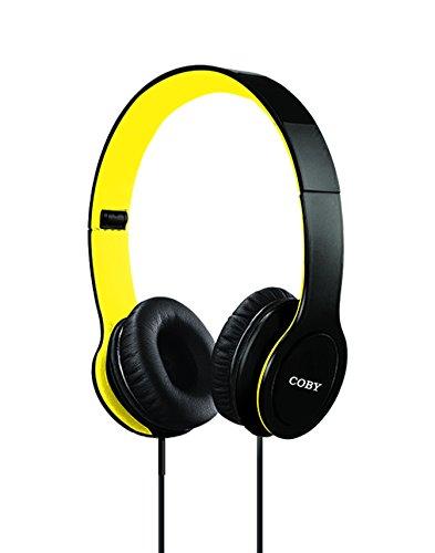 Coby CVH-801-YLW Folding Stereo Headphones, Yellow