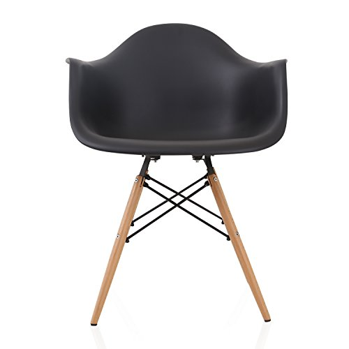 DAW Nordic Black Molded Plastic Dining Arm Chair with Beech Wood Eiffel Legs by CozyBlock (Image #1)