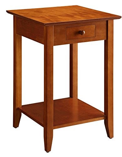 Cherry Wood Finish Magazine Rack (Convenience Concepts American Heritage End Table with Drawer and Shelf, Cherry)