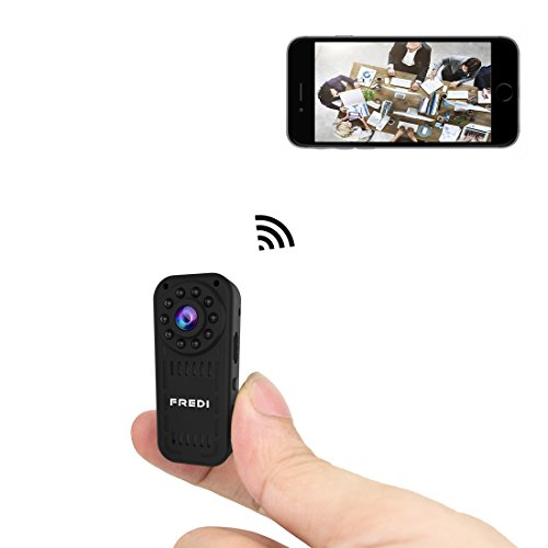 FREDI Hidden Camera 1080p HD Mini WiFi Camera spy Camera Wireless Camera for iPhone/Android Phone/iPad Remote View with Motion Detection(Support 128G SD Card) (fredi-L16)