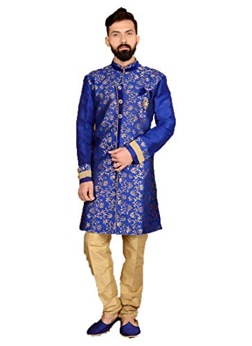 Indian Royal Designer Embroidered Jacquard Silk Festive Wedding Wear Sherwani for Men (7030) (34, - Silk Suit Churidar