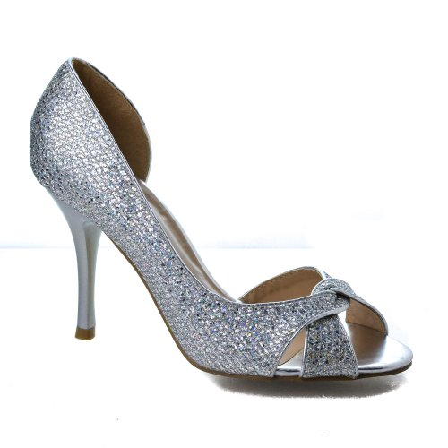 Robin1 Silver Knotted Peep Toe Glitter Mesh Dress D'orsay Stiletto Heel Sandals-7 (Knotted Peep Toe Pumps)