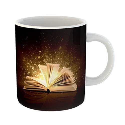 Emvency Funny Coffee Mug Myth of Opened Magic Book Lights Fairy Fantasy 11 Oz Ceramic Coffee Mug Tea Cup Best Gift Or Souvenir