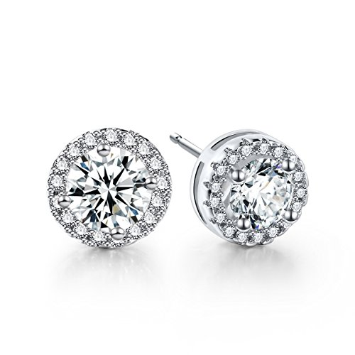 CZ Stud Earrings For Women – 18K White Gold Plated Cubic Zirconia Earrings With Silver Posts by fleur rouge