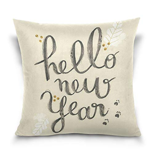 Aibileen Pillowcases,Hello Year,Thanksgiving Throw Pillow Covers,Winter Holiday Home Decor for Couch,Black -