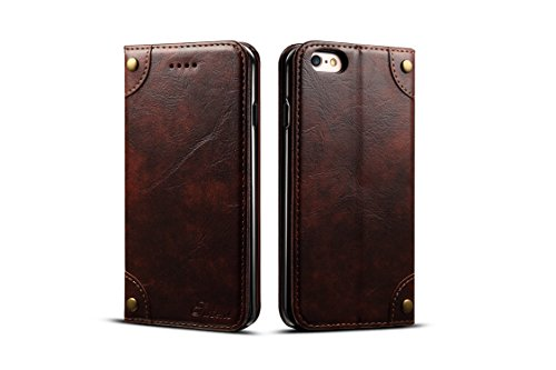 Retro Leather Wallet Case for Apple iPhone 6/6S,Brown Folio Card Money Holder Kickstand Protective Durable Unisex Men Women Fashion Cover Shell (Notre Dame Iphone 4 Case)
