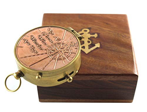 Collectibles Buy Not All Those Who Wander Are Lost Authentic Quote Compass With Wooden Box - Perfect Choice, Halloween, Marine Brass Ship Navigate Device