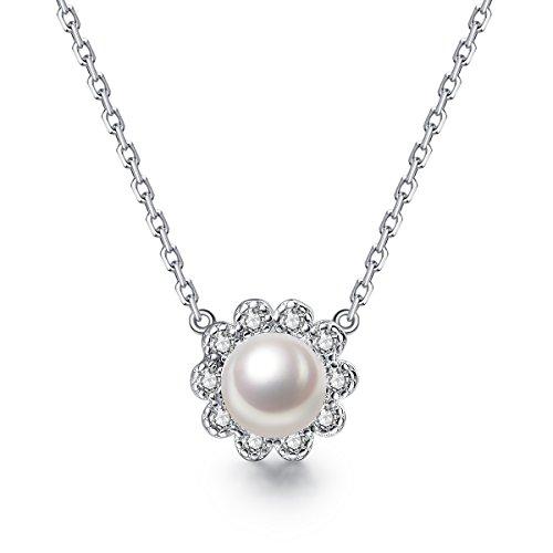 27fbc3174171 Plata perla collares pendientes para las mujeres de 18 pulgadas agua dulce  colgante de Halo collar