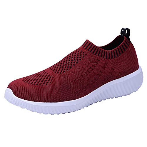 TIOSEBON Women's Athletic Walking Shoes Casual Mesh-Comfortable Work Sneakers 12 US Burgundy
