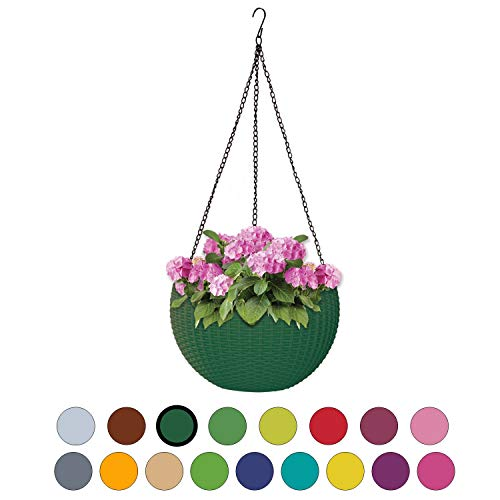 ALMI Hanna Hanging Planter 11 Inch Round Plastic Decor Garden Resin Flower Pot Chain Basket for Plant Planters for Plants For Indoor And Outdoor  Dark Green