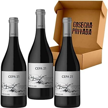 CEPA 21 - Vino Tinto - 3 Botellas - Bodegas Cepa 21 - Estuche de Vino de 3 Botellas para regalo - Seleccionado y Enviado por Cosecha Privada