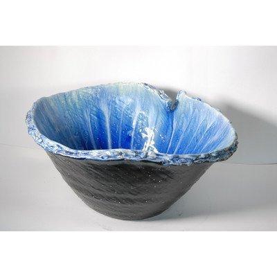 風の水琴工房 青白流しひねり水鉢 17号 - 信楽焼 B07785B4RF