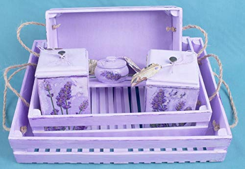 Kitchen set Provence style France decorative serving trays Lavender Shabby Chic Kitchen Wedding Set housewarming gift wood serving tray