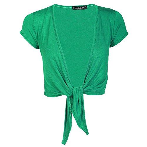 Janisramone mujeres señoras gorra manga lazo frontal recortada chaqueta de punto todo Bolero Jade