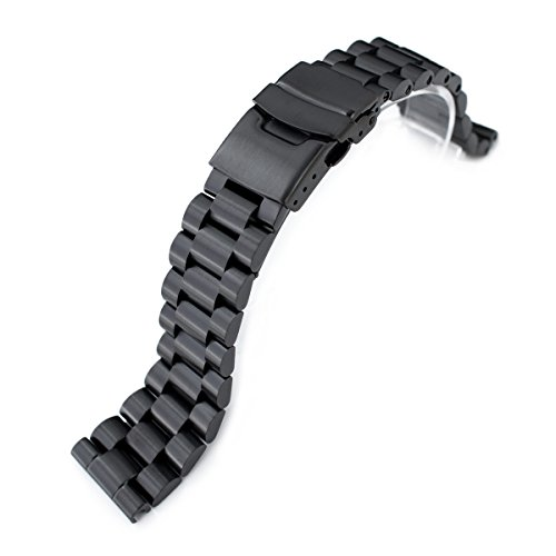 - 22mm Solid 316L Stainless Steel Endmill Metal Watch Bracelet, Straight End, PVD Black
