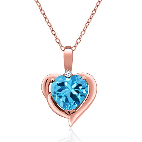 - Gem Stone King 2.02 Ct Swiss Blue Topaz White Created Sapphire 18K Rose Gold Plated Silver Pendant
