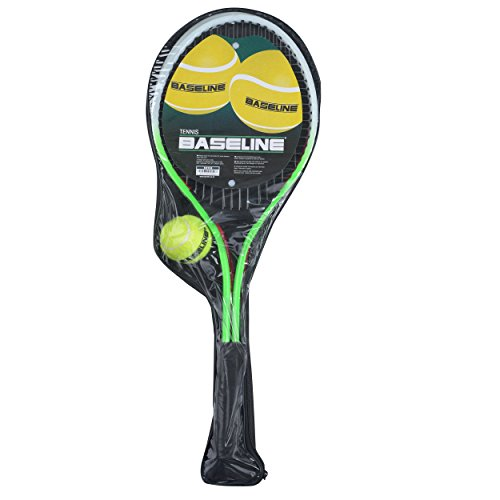 (Baseline BG958 Tennis Racket 2 Player Set for Kids, 2 Rackets and Ball, Green/Red)