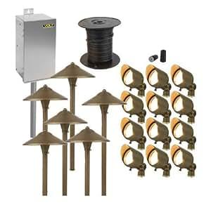Brass LED Landscape Lighting Kit | (12) Spot (6) Path Kit