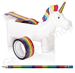 Unicorn Tape Dispenser with 2 x Rolls of Rainbow Tape with 1pc Wooden Metallic Rainbow Pencil