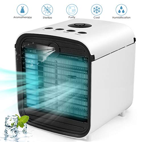 Personal Air Conditioner, Portable Air Cooler, 5 in 1 Evaporative Cooler, Desktop Cooling Fan with 7 LED Light and 3 Speeds for Home, Office, Dorm