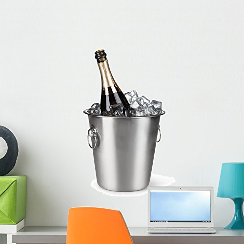 Wallmonkeys FOT-79379838-24 WM169508 Champagne Bottle in a Bucket with Ice Peel and Stick Wall Decals (24 in H x 16 in W), Medium