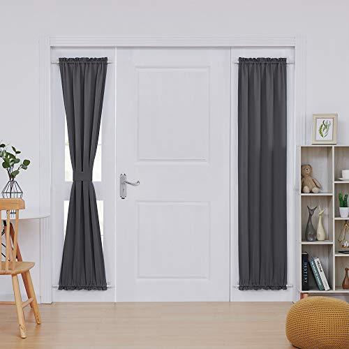 Deconovo Rod Pocket Door Panel Curtain Thermal Insulated Curtains for Living Room Length 25 inch Width 72 inch Dark Grey 2 - Panel Door Dark