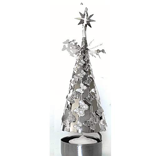 BANBERRY DESIGNS Spinning Candles - Silver Metal Tree with Butterflies - Scandinavian Design Candle Holder - The Tree Rotates When The Tea Light Candle is Lit - Carousel Candle Holder