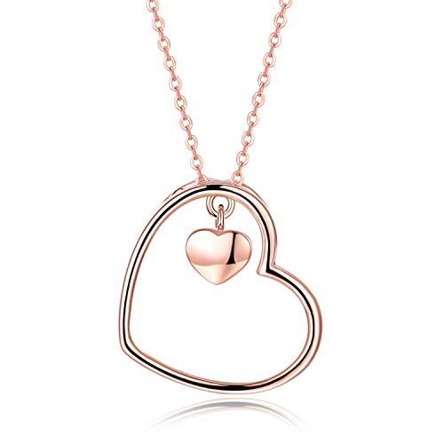 RED TREE Heart Necklace, Rose Gold Plated S925 Sterling Silver Heart in Heart Pendant Necklace for Womens, Design Implication - You are Always in My Heart