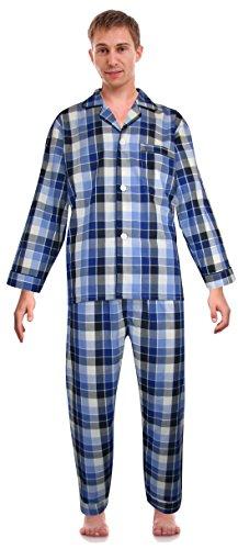 RK Classical Sleepwear Men's Broadcloth Woven Pajama Set, Blue(0155), X-Large, Blue, (0155)