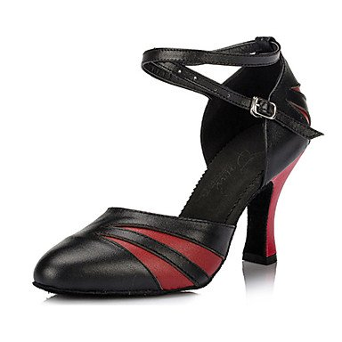 XIAMUO Anpassbare Damen Tanz Schuhe Leder Leder Latin/Ballsaal Fersen Ferse innen Rot/Gold, Schwarz und Rot, Us5.5/EU36/UK3.5/CN 35