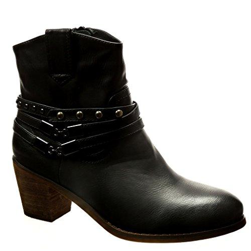 Angkorly - damen Schuhe Stiefeletten - Santiags - Cowboy - Nieten - besetzt - Kette - Schleife Blockabsatz high heel 5.5 CM - Schwarz