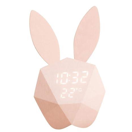 Reloj de pared para niños con diseño de conejo, luz nocturna, despertador, luz