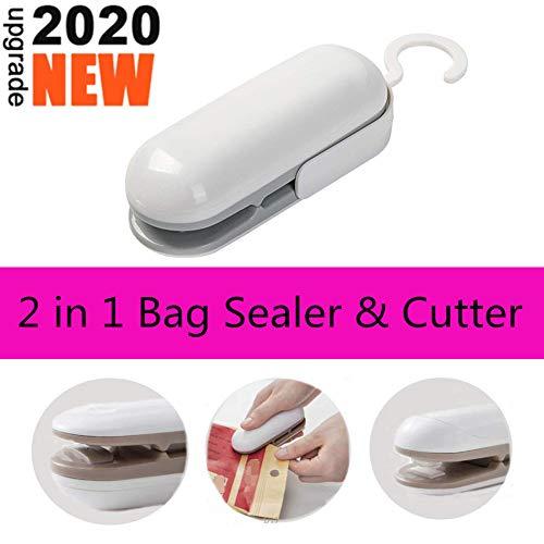 Handheld Heat Sealer,Mini Bag Sealer,Heat Vacuum Sealer,Portable Sealing Machine,2 in 1 Heat Bag Sealer and Cutter,Plastic Heat Sealer Bag Sealer for Plastic Bags, Food Storage Snack Fresh Bag Chip Bags Resealer Sealer(Battery Not Included)