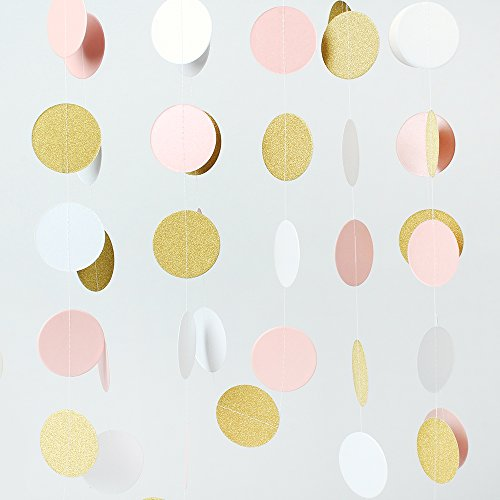 ZOOYOO Glitter Paper Circle Garland Dots Hanging Decor, Circle Event & Party Supplies,2'' high,9.8-feet (Pink,White,Gold)