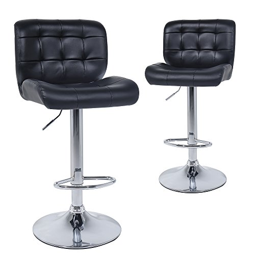 25' Square Stool - Wahson Counter Height Bar Stools set of 2 - Contemporary PU Leather Adjustable Swivel Barstool Chairs with Back (Black)