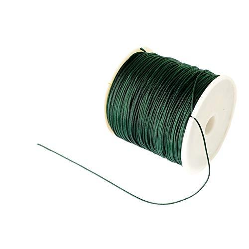 (PH PandaHall 100 Yard 0.8mm Braided Nylon Cord Imitation Silk String Thread Lift Shade Cord for Crafting Beading Jewelry Making (DarkGreen) )
