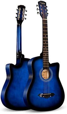 アコースティックギター アコースティックギター初心者男性と女性のエントリ学生大人の木製ギター 初心者セット (色 : Blue, Size : 38 inches)