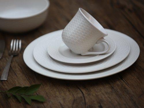 Melange 40-Piece Porcelain Dinnerware Set (Nantucket Weave) | Service for 8 | Microwave, Dishwasher & Oven Safe | Dinner Plate, Salad Plate, Soup Bowl, Cup & Saucer (8 Each) by Melange (Image #3)