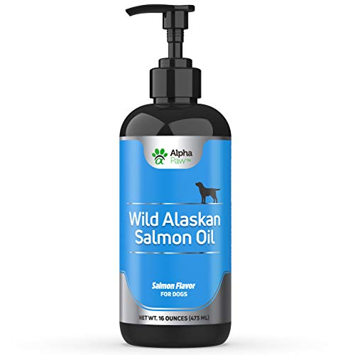 Alpha Paw Wild Alaskan Salmon Oil for Dogs - All Natural Omega 3 Fish Oil for Dogs - Omega 3 Dog Salmon Oil - Coat and Joints, Dandruff Support, Dry Skin, Immune Support - 16 Ounces