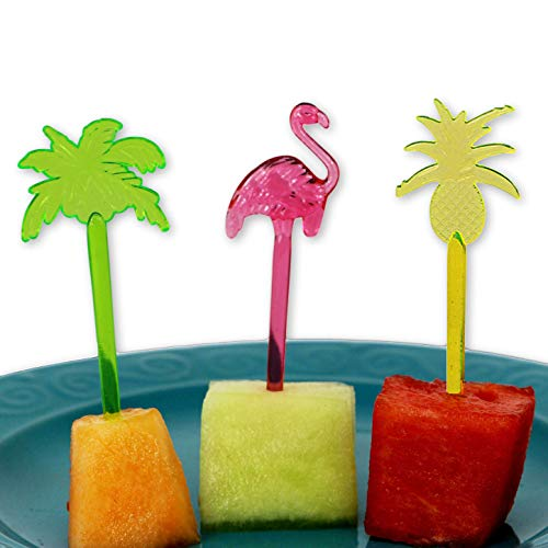Tropical Food Picks - Hawaiian Luau Summer Party Decorations - Cupcake Topper Cocktail Appetizer Picks - Flamingo Palm Tree and Pineapples -30 Pieces