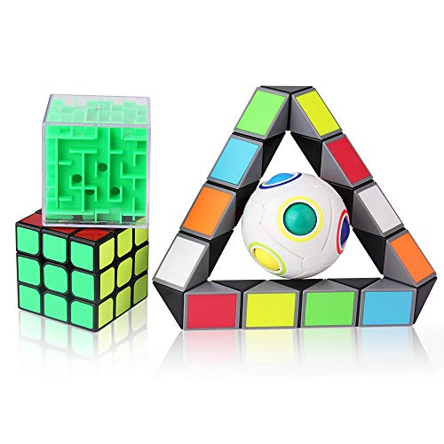 Roxenda 4 Pack 3-D Puzzles Bundle Brain Teasers Toy Set - 3x3x3 Speed Cube/Rainbow Magic Ball/3D Maze Magic Cube/Magic Snake Cube; IQ Games for All Age