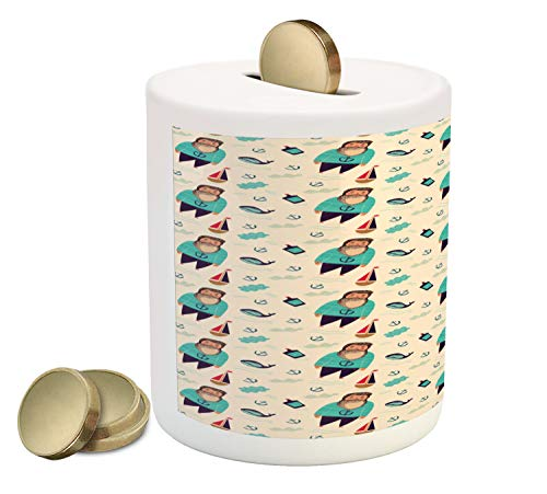 Ambesonne Sailboat Piggy Bank, Potbelly Sailor with Striped Clothes and Blue Whales Hand Drawn Design, Printed Ceramic Coin Bank Money Box for Cash Saving, Multicolor