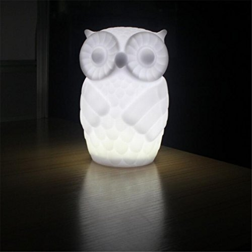Cheap Suzzo Serenity Owl Night Light Lamp With Timer Battery Powered Table Lamp Holiday Gifts Novelty Lighting Kid Room Party Decor Warm White