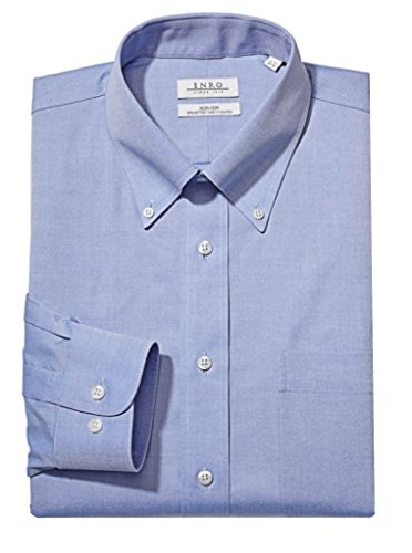 Enro Men's Classic Fit Solid Button Down Collar Dress Shirt, Light Blue, 18.5