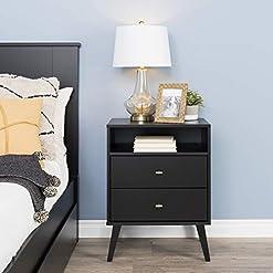 Bedroom Prepac Milo Mid Century Modern Nightstand, 2-Drawer with Open Shelf, Black modern bedroom furniture