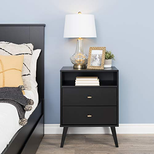 Prepac Milo Mid Century Modern Nightstand, 2-Drawer with Open Shelf, Black