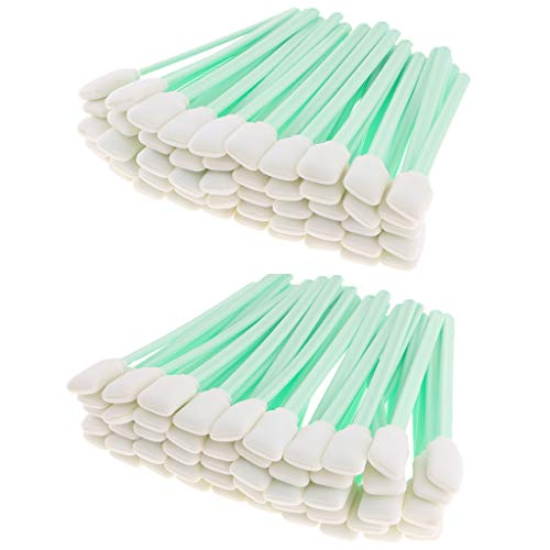 Flameer 100 Pack 5'' Long 50 pcs Foam Tip Cleaning Swabs Sponge Stick for Inkjet Print Head Optical Lens Cleaning Solvent ()